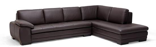 Baxton Studio Brown leather sofa sectional with chaise ORG $1312 SALE $1181