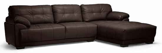 Baxton Studio DeCarlo Dark Brown Leather Modern Sectional Sofa with Right Facing ChaiseORG $693 SALE $624