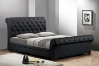 Baxton Studio Leighlin Black Modern Sleigh Bed with Upholstered Headboard - Full Size ORG $415 SALE PRICE $374