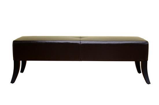 Baxton Studio DANILO Dark Brown Leather Bench