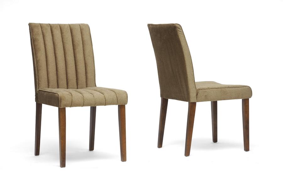 Baxton Studio Stripp Brown Microfiber Modern Dining Chair ORG $102 SALE PRICE $92