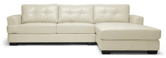 Baxton Studio Dobson Cream Leather Modern Sectional Sofa ORG $552 SALE $497
