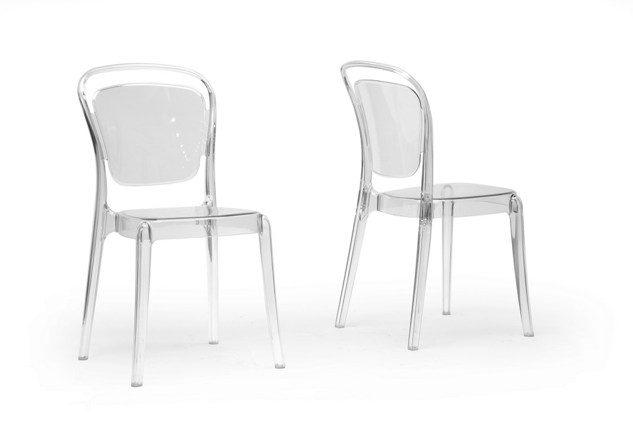 Baxton Studio Ingram Clear Plastic Stackable Modern Dining Chair (Set of 2) ORG $228 SALE PRICE $205