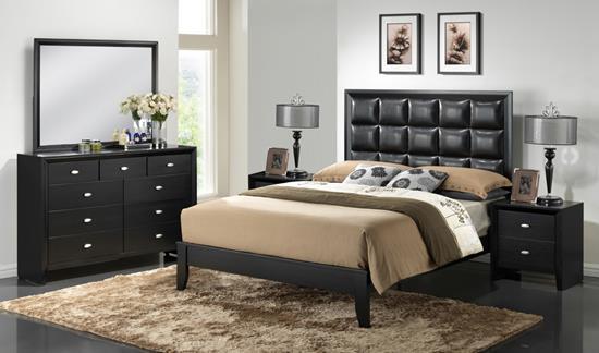 Baxton Studio Carolina Black 5-Piece Modern Bedroom Set - Queen Size ORG $708 SALES PRICE $637