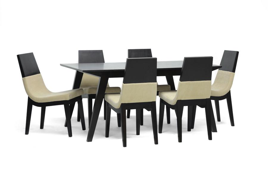 Baxton Studio Prezna 7-Piece Dark Brown Modern Dining Set ORG $922 SALE PRICE $830