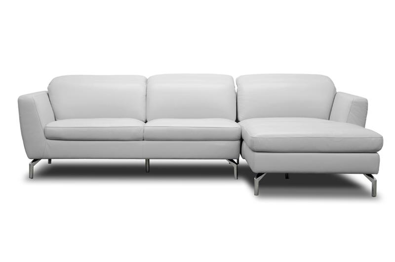 Baxton Studio Geddis Pale Gray Leather Modern Sectional Sofa ORG $1597 SALE PRICE $1278