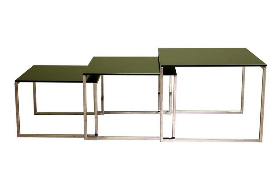 Baxton Studio Nara Black Nesting Table with Metal Legs,