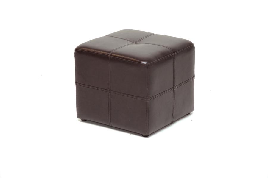 Baxton Studio Nox Dark Brown Bonded Leather Cube Ottoman
