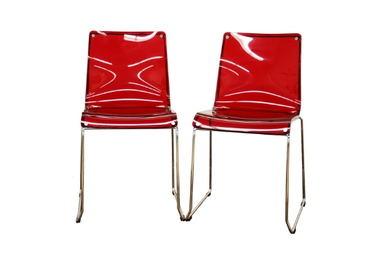 Baxton Studio Lino Transparent Red Acrylic Accent Chair Dining Chair (Set of 2) ORG $130 SALE PRICE $117