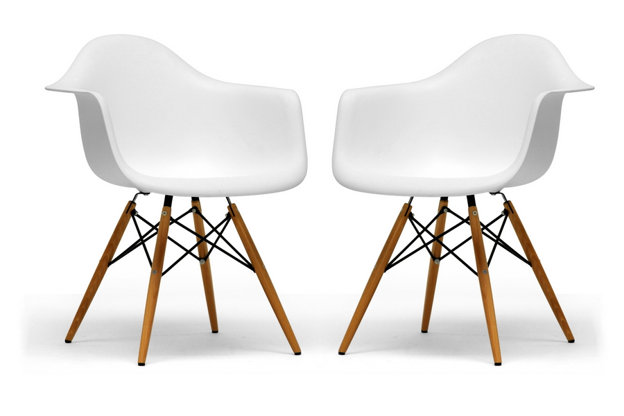 Baxton Studio Pascal White Molded Plastic Chair with Brown Wood Legs