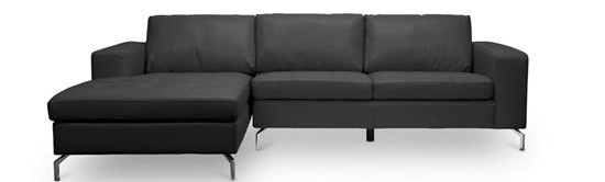 Baxton Studio Lazenby Black Leather Modern Sectional Sofa ORG $838 SALE $754