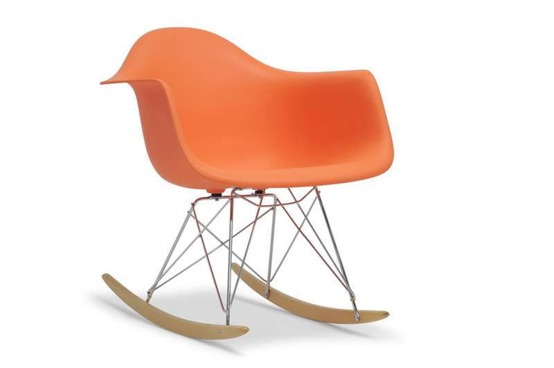 Baxton Studio Miri Orange Plastic Mid-Century Rocking Chair ORG $164      SALE PRICE $131