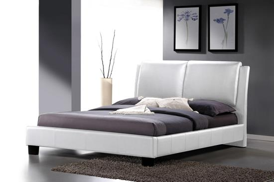 Baxton Studio Sabrina White Modern Bed with Overstuffed Headboard - Queen Size ORG $288 SALE PRICE $259