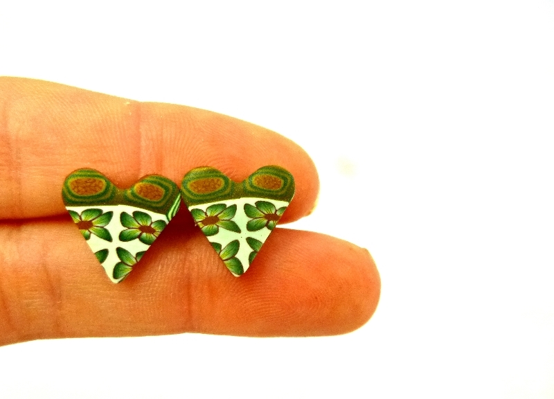 Green Flower Heart Studs