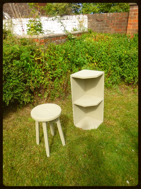 Green stool and shelves