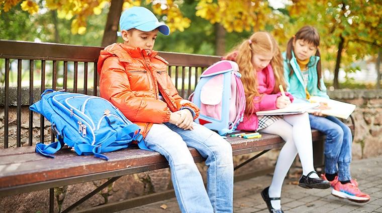 Children on park bench