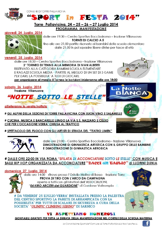 festa dello sporto Torre Pallavicina