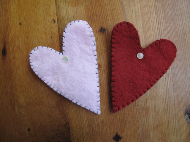 Heart Pouch with Pearl Button, by Kata Golda