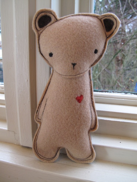 Plush Felt Bear with Embroidered Heart, by Kata Golda