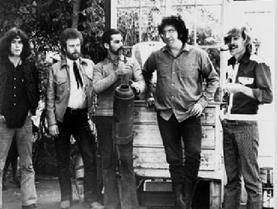 Dave Torbert, David Nelson, Mickey Hart, Jerry Garcia, John Dawson. 1970 Grateful Dead archives.