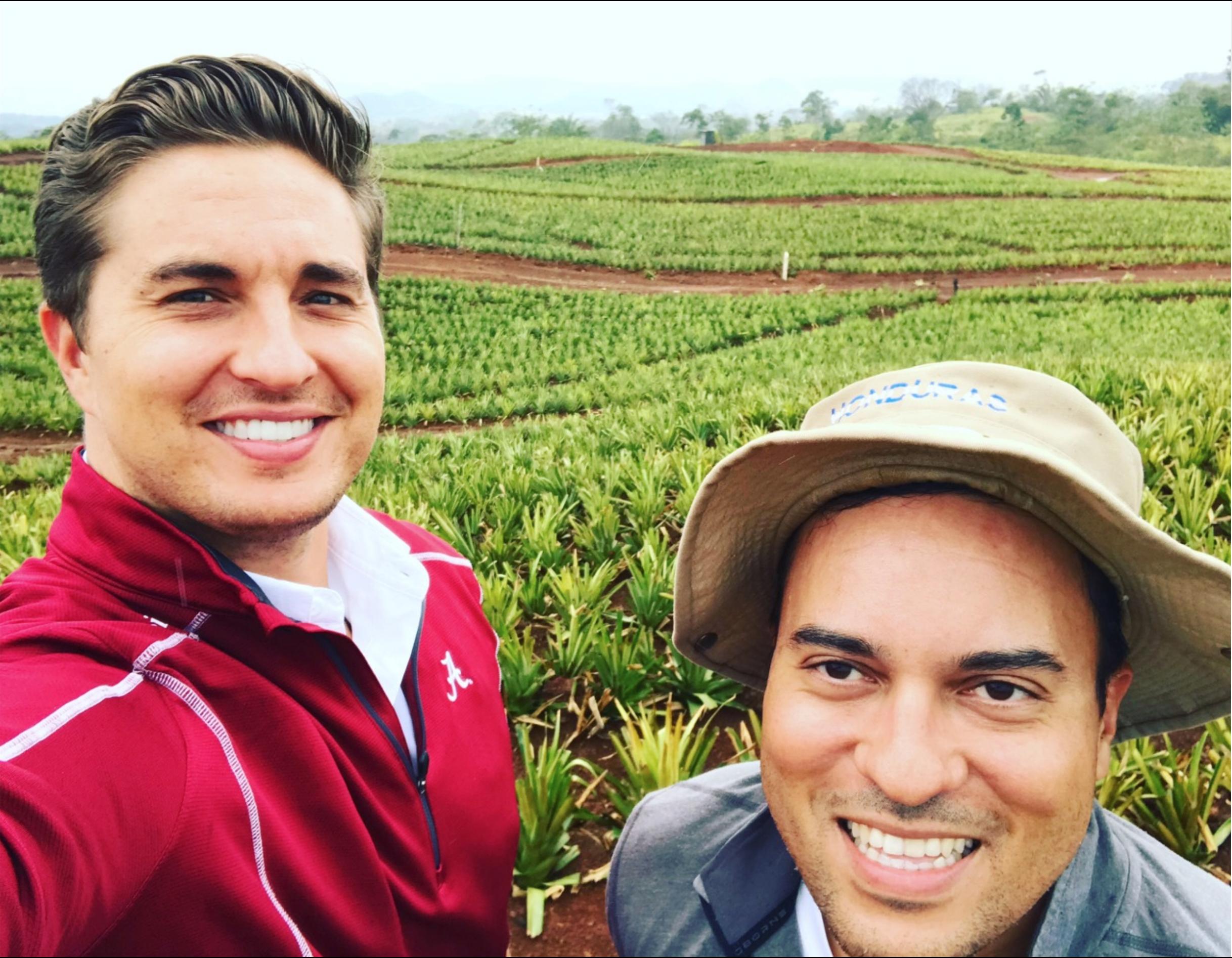 Dax Cooke and Paul Vergara at La Dona's pineapple plantation
