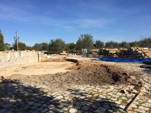 Bouw nieuw zwembad bij bed en breakfast Cas al Cubo - Algarve, Tavira