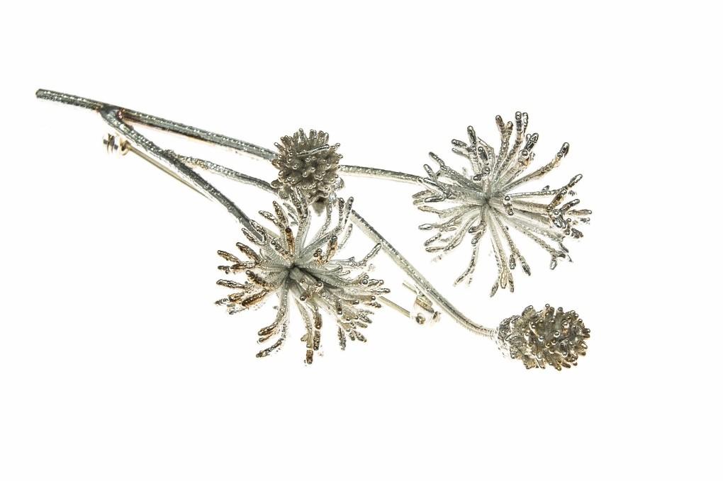 ROC Wild Daisy Brooch Fine Silver