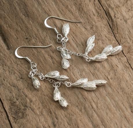 ROC Silver Rice Grain Earrings