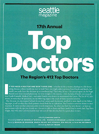 Seattle Magazine 17th Annual Top Doctors Front Page