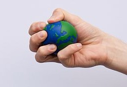 Hand squeezing and earth stress ball. Photo courtesy of Lewis Ronald.