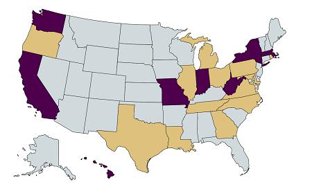 Purple states, representing the current cohort, are WA, CA, MO, IN, WV, NY, HI and MA. States in gold, indicating past cohort, are OR, TX, LA, IL, MI, OH, PA, VA, NC, TN, GA and RI.