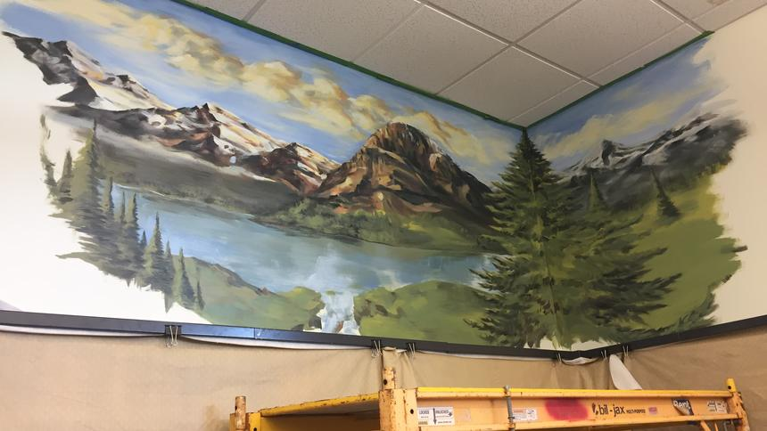 Wall mural with mountains