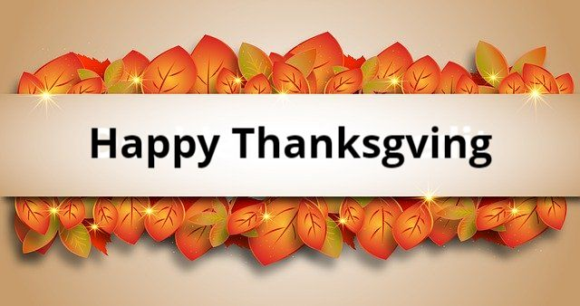 Happy Thanksgiving Banner with leaves
