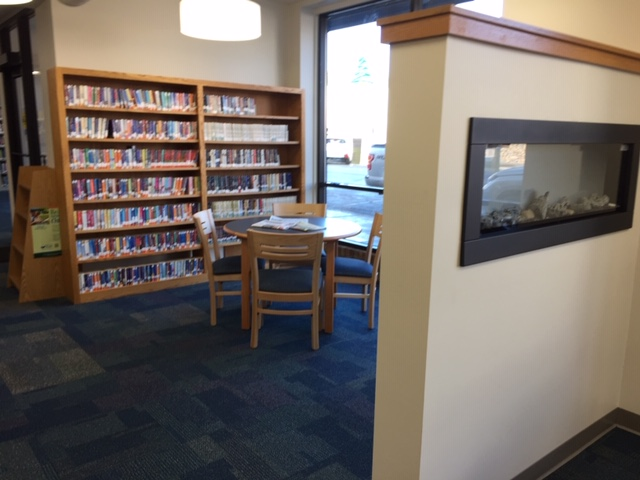 Shelving and Fireplace in Milltown Library