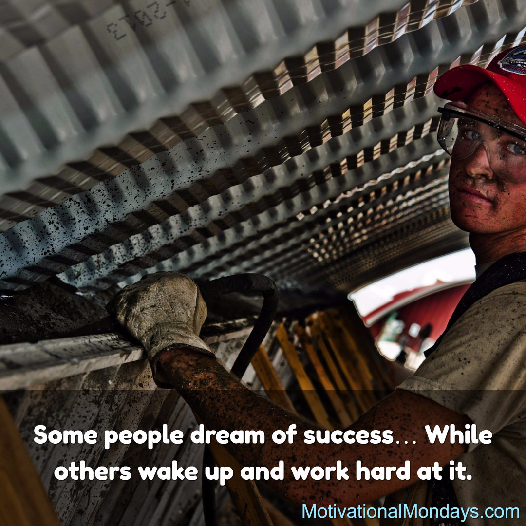 Some people dream of success...While others wake up and work hard at it.