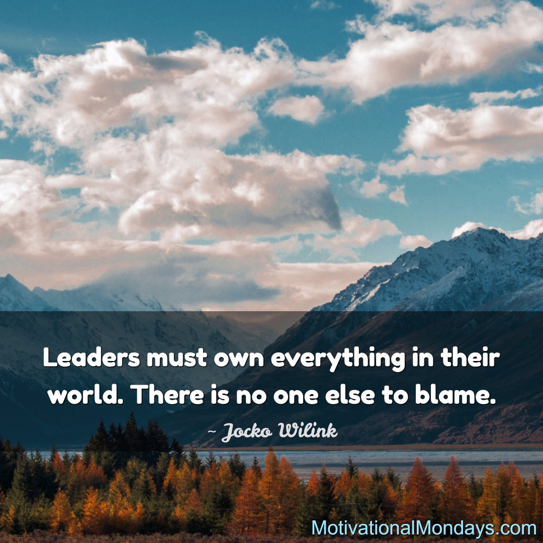 Leaders must own everything in their world. There is no one else to blame.