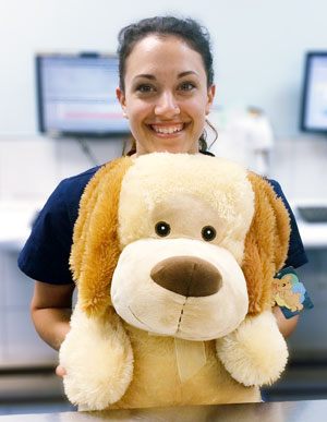 Chapelle with the stuffed CPR dog.