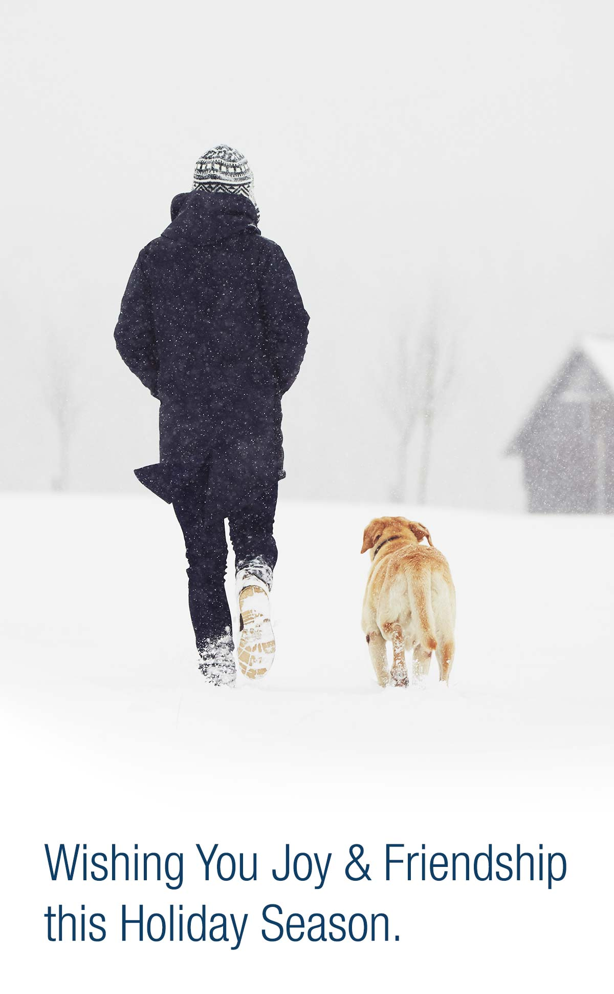 A man and his dog walking in snow.