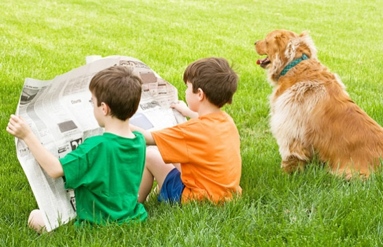Boys and a dog reading the paper in the grass.