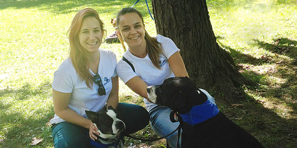 Nejra and Yvonne at the Smilng Blue Skies Walk to End Canine Cancer.