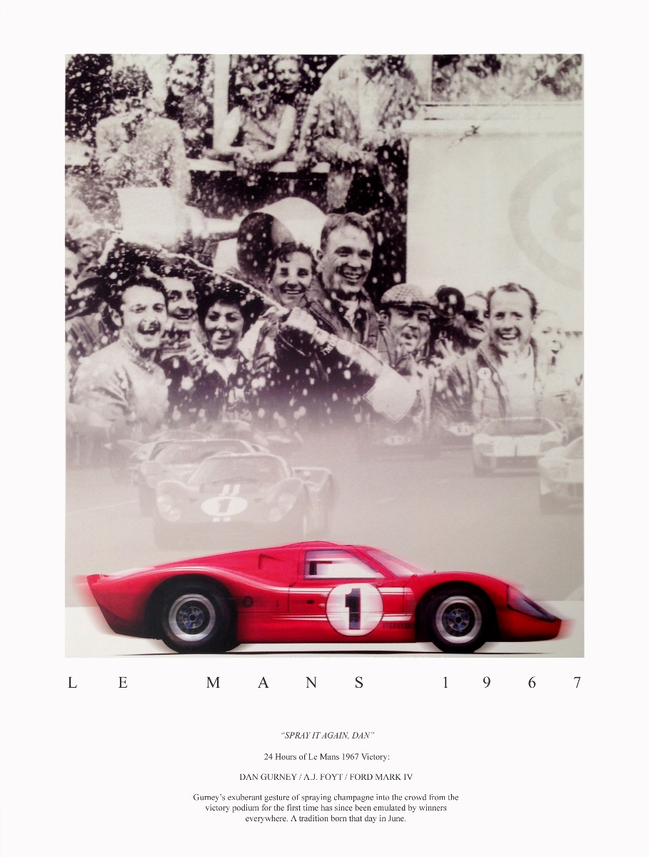 This classic moment was memorialized in this beautiful poster, 'Spray it Again Dan,' available at arteauto.com