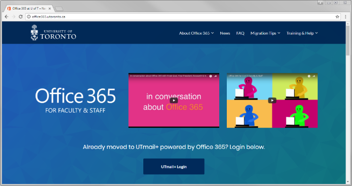 Screenshot of the U of T Office 365 website