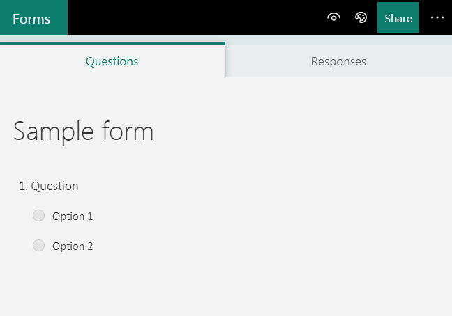Screenshot of Office 365 Forms