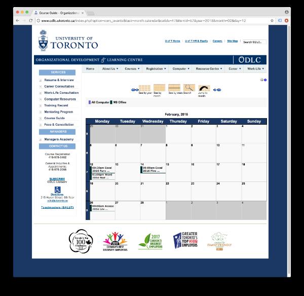 ODLC Calendar Screenshot