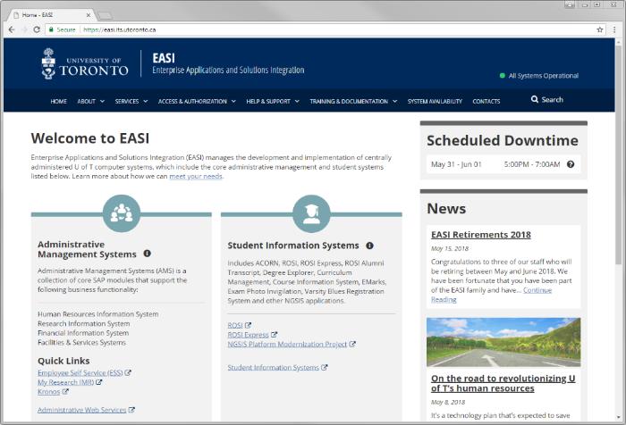 Screenshot of new EASI website