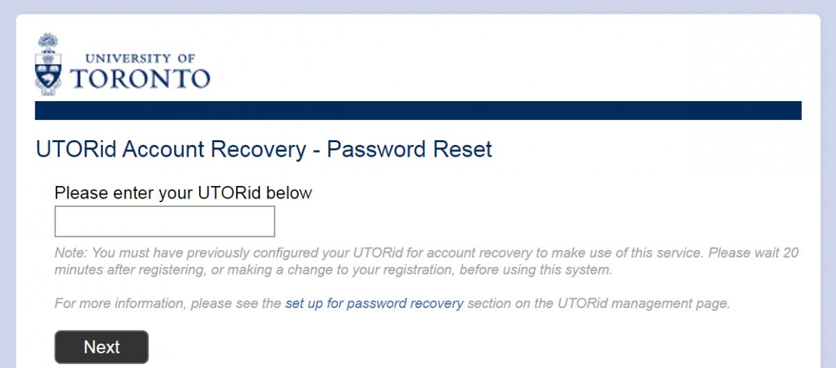 UTORid Account Recover - Password Reset - Screenshot