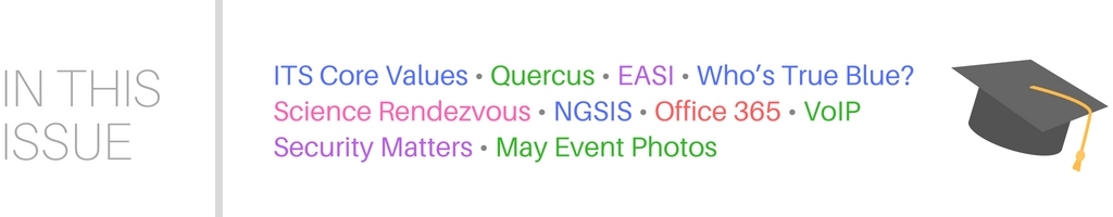 This issue includes ITS Core Values, Quercus, EASI, True Blue Awards, Science Rendezvous, NGSIS, Office 365, Voice over IP, Security Matters, May 2018 Event Photos