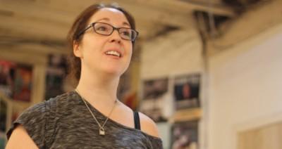 Kat Harrison rehearsing Slippers in the Fridge by Tom Brogan