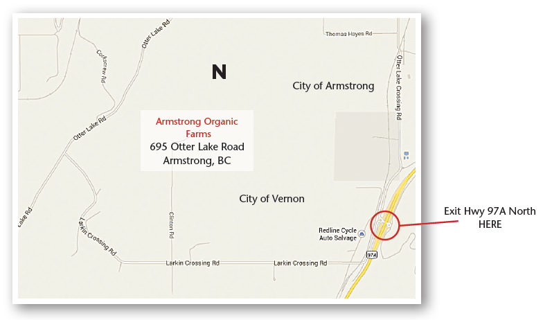 Map to Armstrong Organic Farms - 695 Otter Lake Road, Armstrong, BC