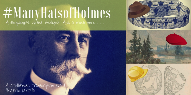 Many Hats of Holmes Campaign image - William Henry Holmes, 3 hats on beaded belt, artwork, and geological formation drawings